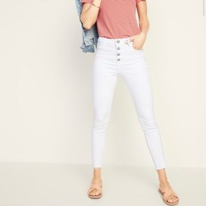 High-Waisted Super Skinny White Jeans